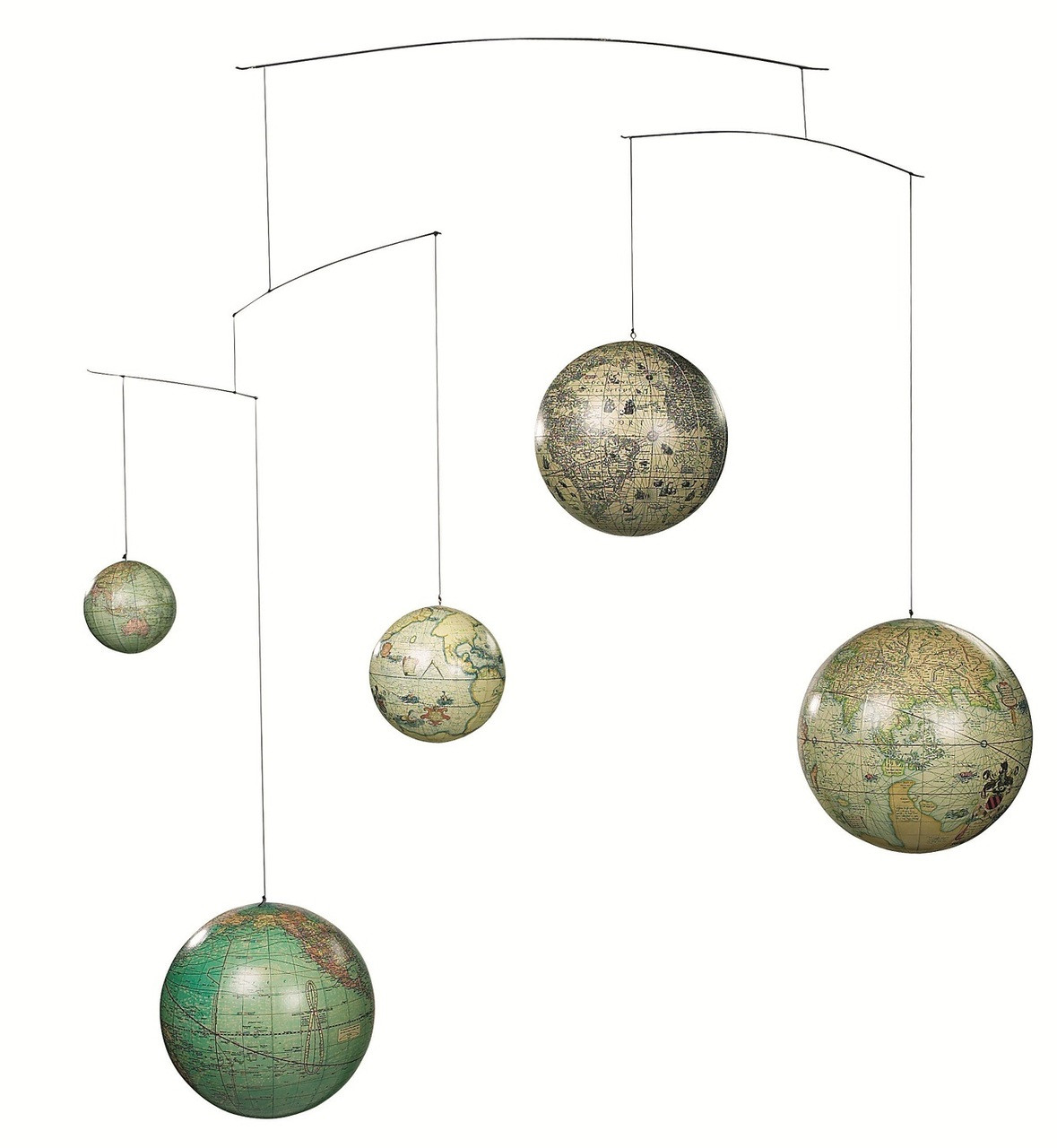 (GL060) 5 Globe Mobile - Features 5 Different Globes of Different Sizes from 5 Different Periods of Time