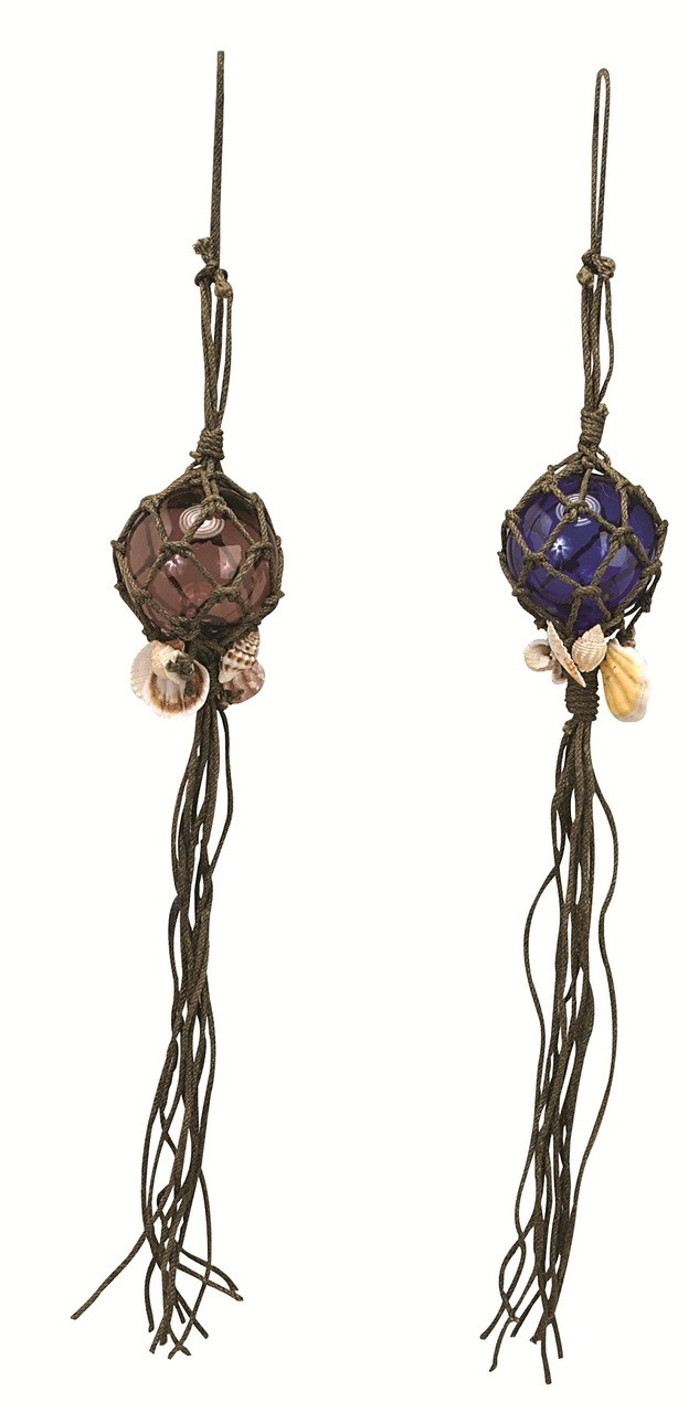 """Hanging Japanese Glass Float with Braided Rope and Shells 20"""" x 3"""""""