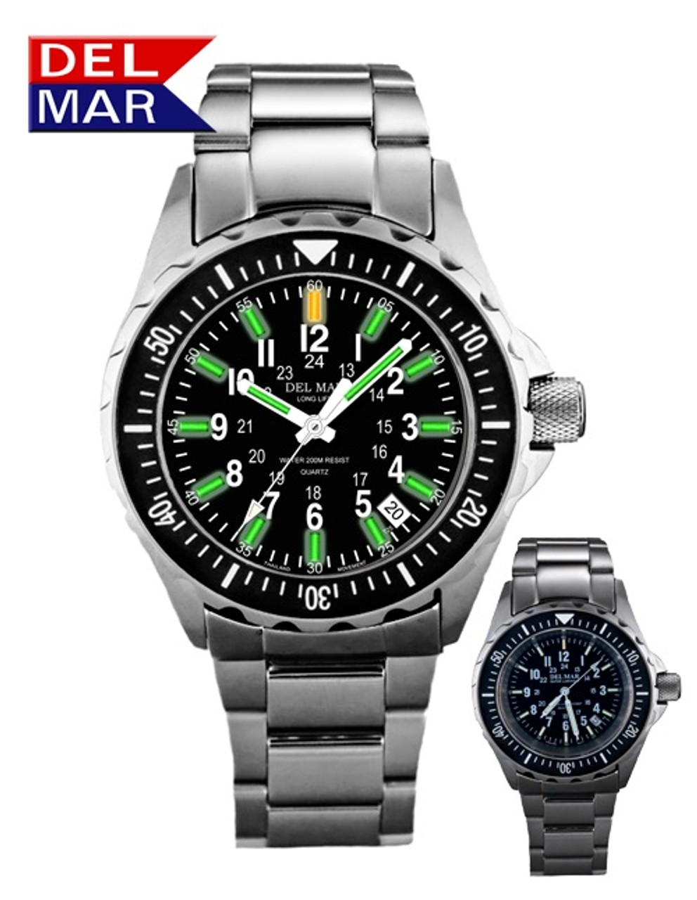 Del Mar Men's 200M Illuminating Glow Micro Gas Nautical Watch