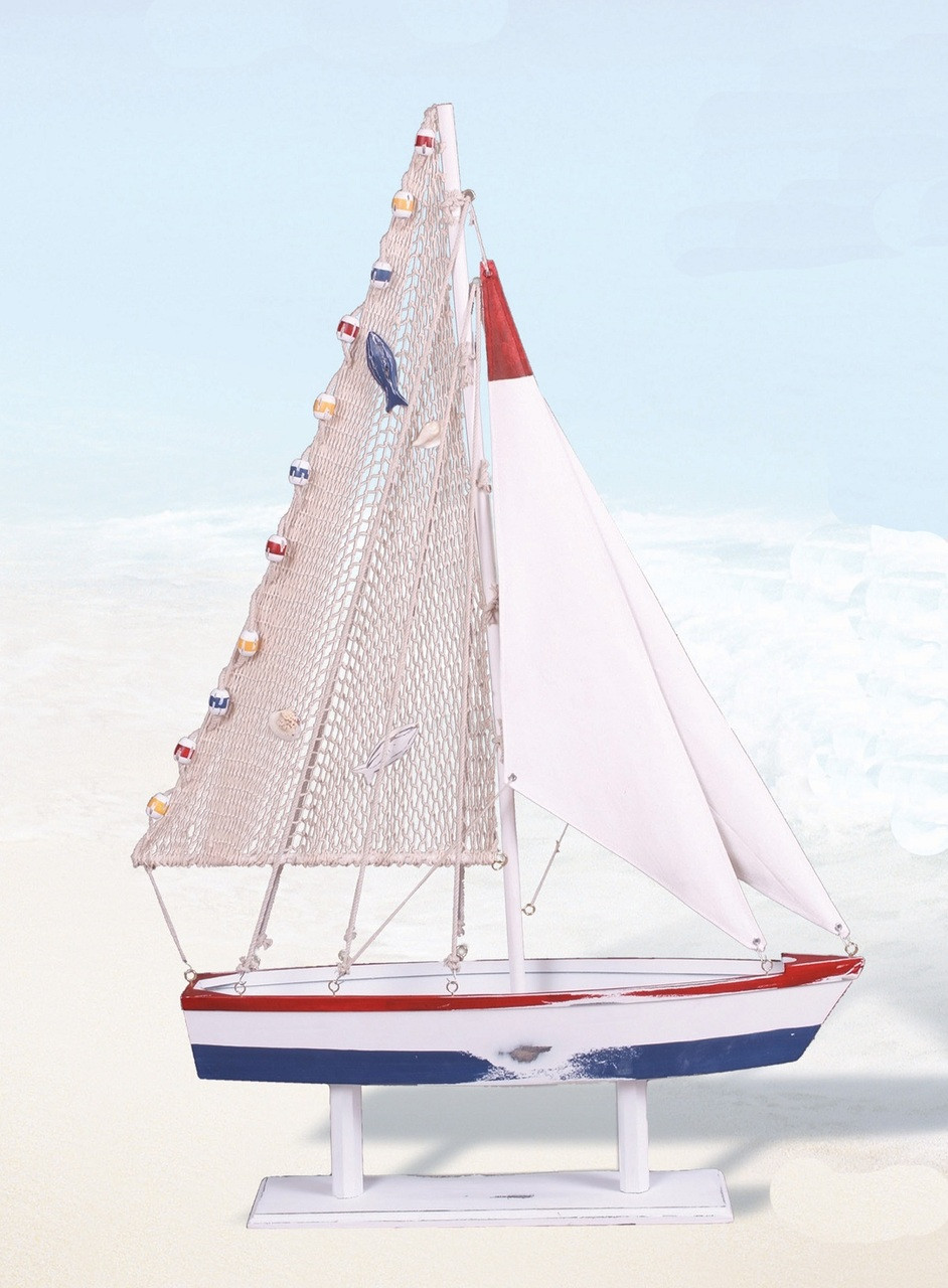 Wooden Sailboat on Stand 43""