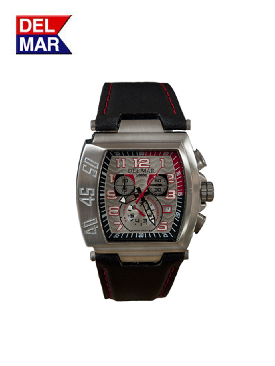 Del Mar Men's 100M Chronograph Rugged Sports Watch with Silver and Red Dial