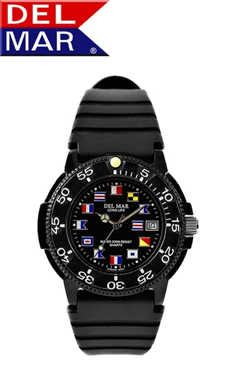 Del Mar Men's 200M Nautical Flag Dial Dive Watch with PU Band - Black or White Face