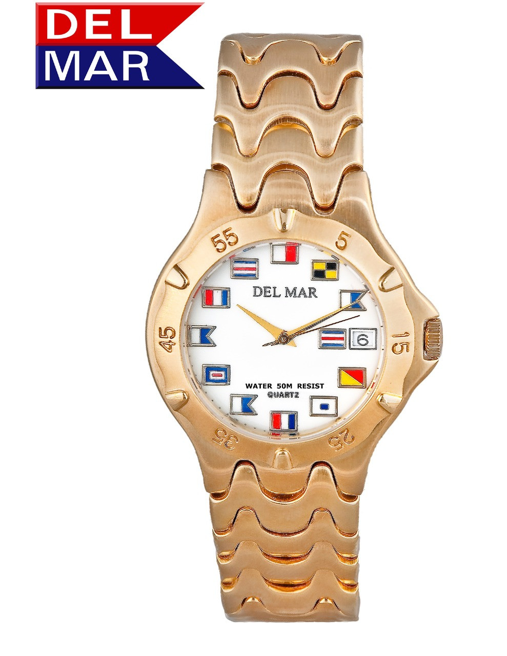 "Del Mar Men's 50M ""Admiral's Collection"" Classic Dress Watch with Nautical Flag Dial"