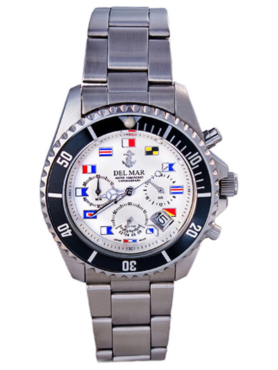 Del Mar Men's 200M Chronograph Nautical Flag Dial Watch - White Face