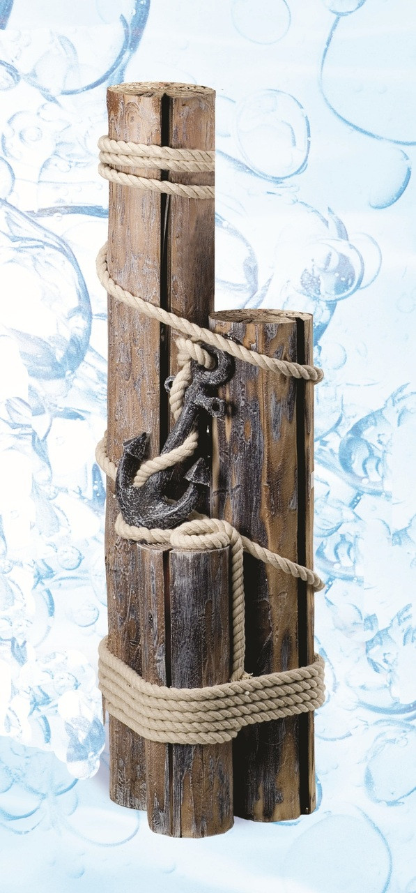 Decorative Nautical Pilings with Rope and Anchor
