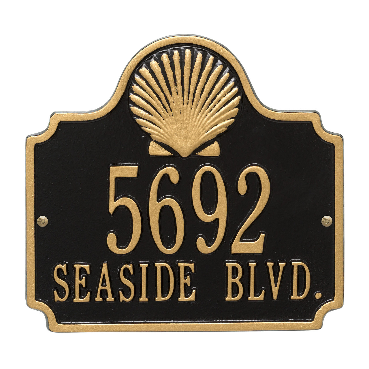 Personalized Conch Nautical Address Plaque - Two Lines