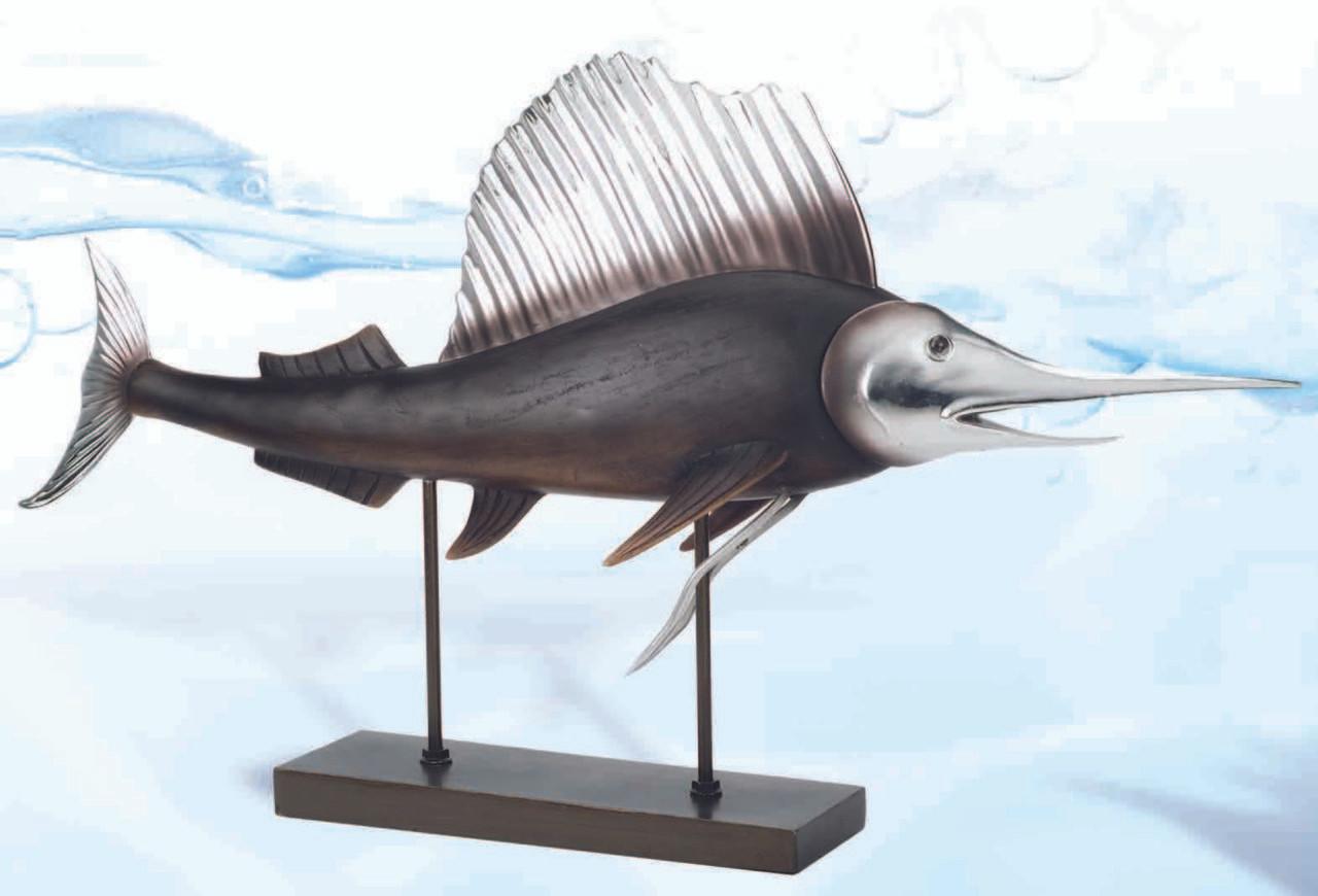 "(FS-05) Large Black and Silver 24"" Swordfish Polystone Sculpture"