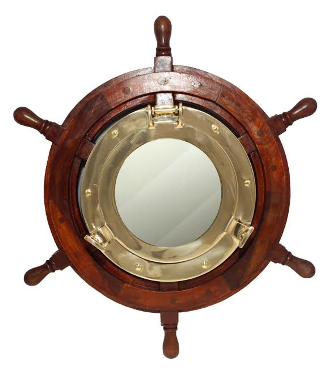 "(BP-711-18)  Polished Brass Porthole Mirror in 18"" Wooden Ship Wheel"
