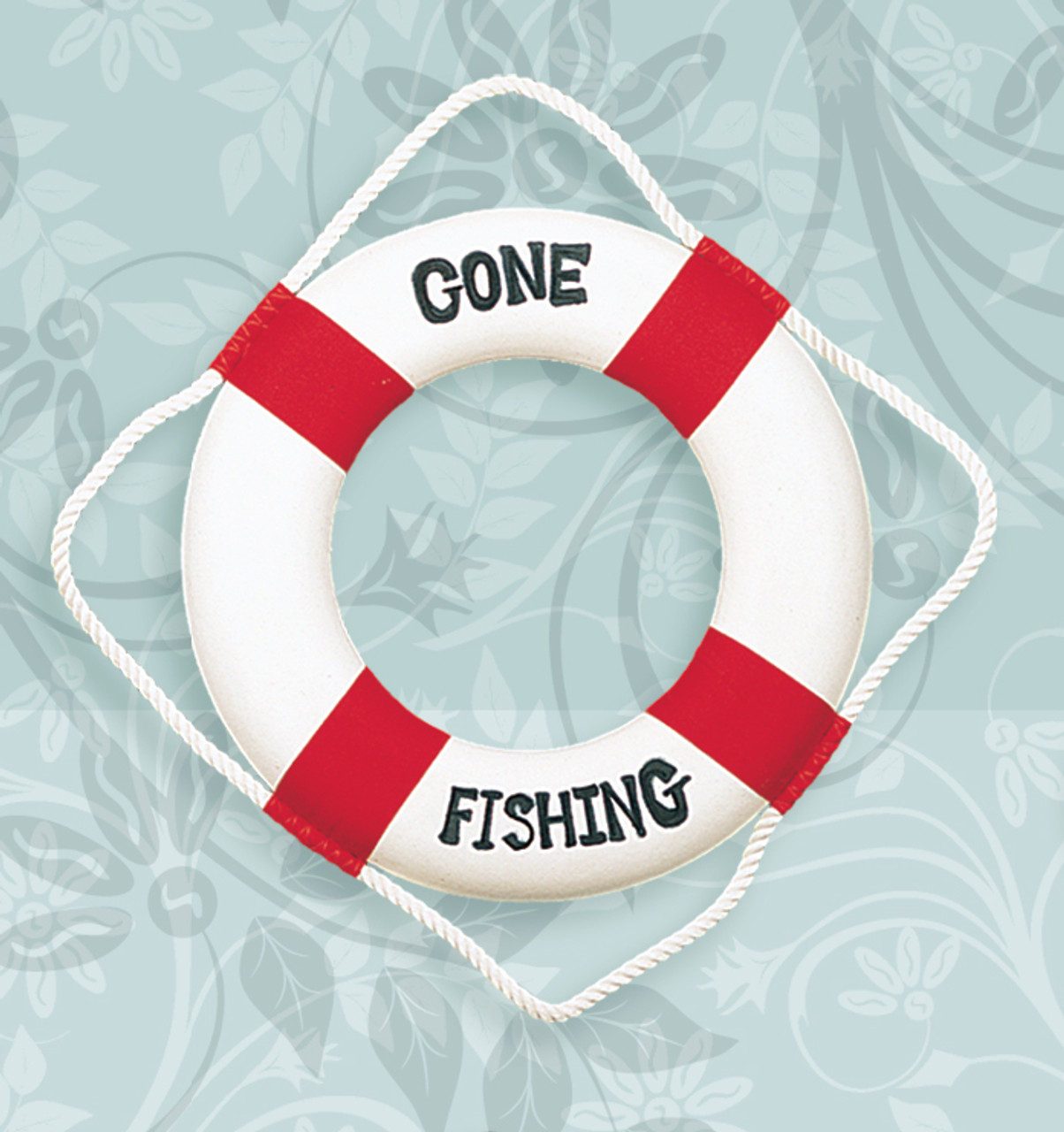 """""""Gone Fishing"""" Life Ring - Red"""