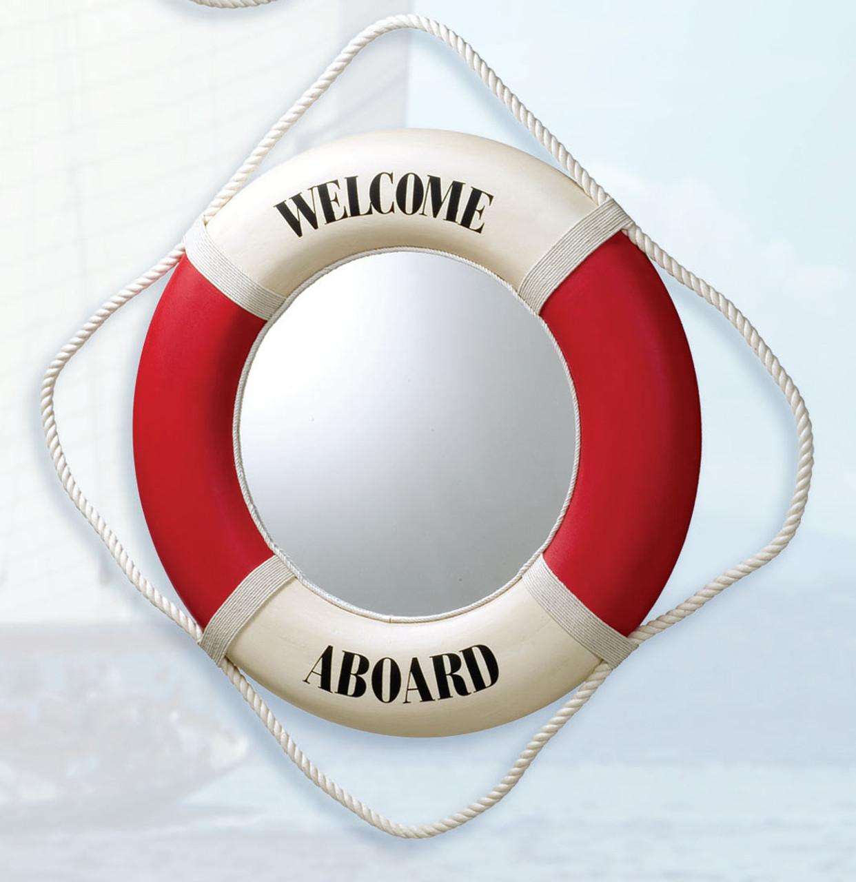 """Life Ring Mirror- Red """"Welcome Aboard"""""""