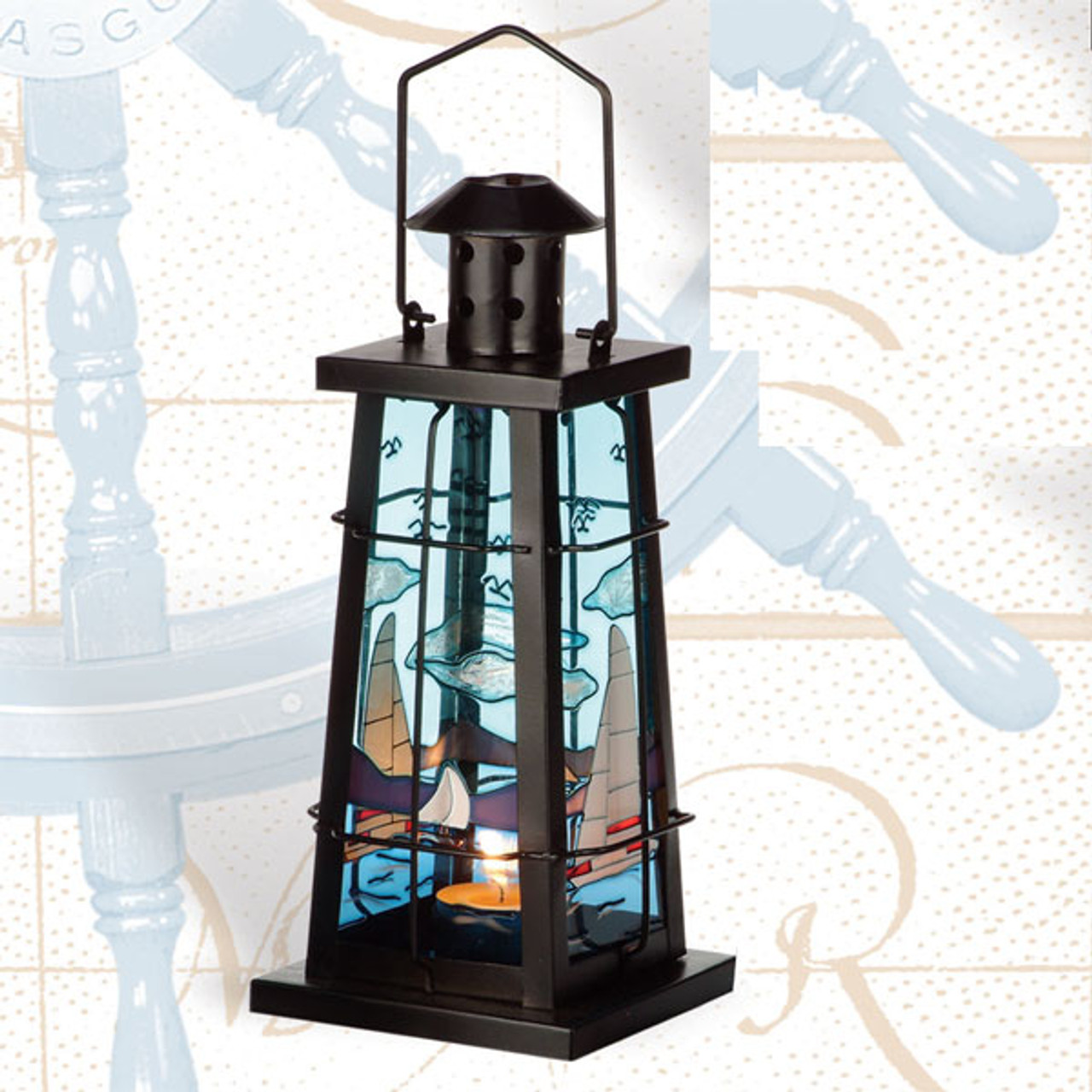 Iron Nautical Candle Holderswith a Sailboat Design