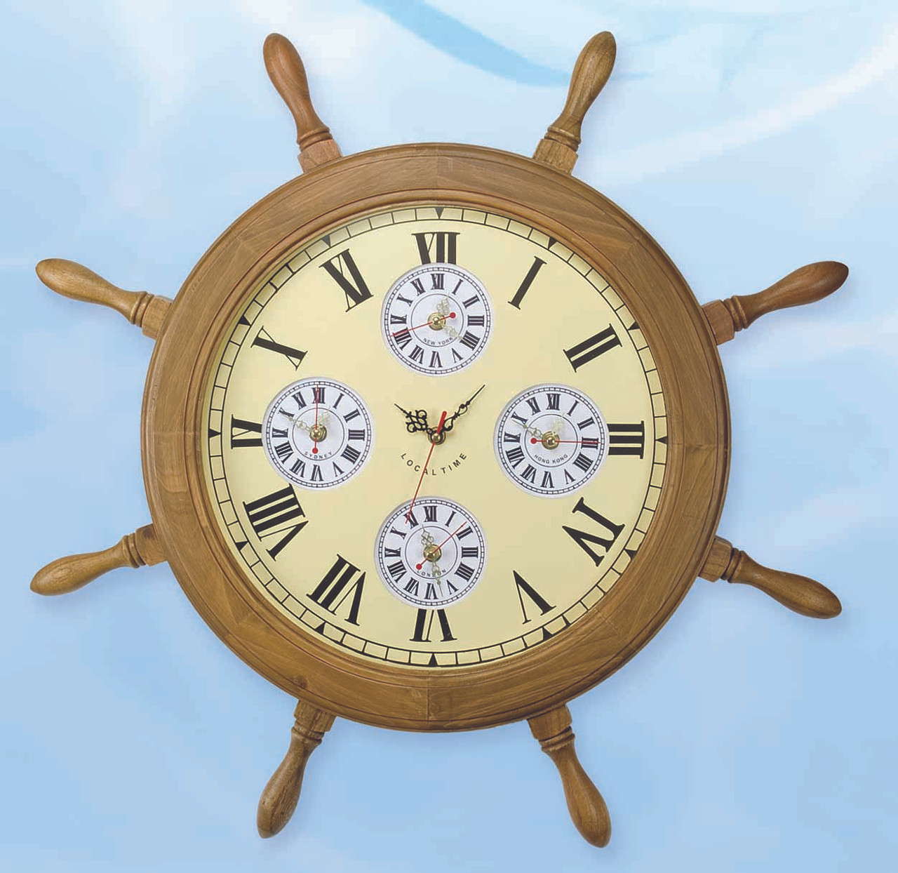 Nautical Ship Wheel World Clock with Multiple Time Zones