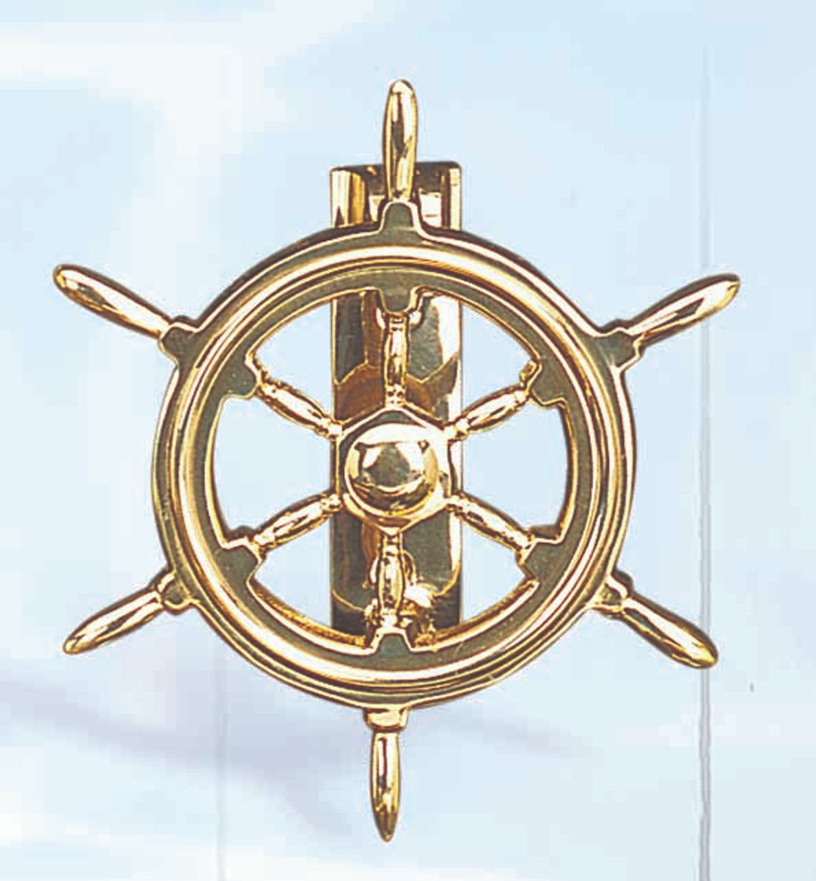 """(DK-04) 6"""" Ship Wheel Brass Door Knocker with Lacquer Finish"""