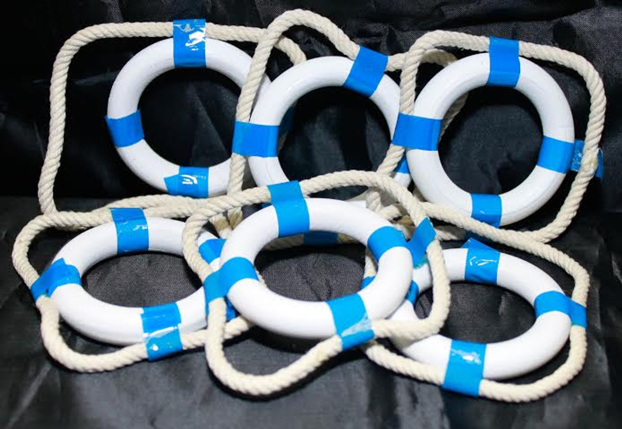 "2"" Blue and White Life Rings - Set of 6"