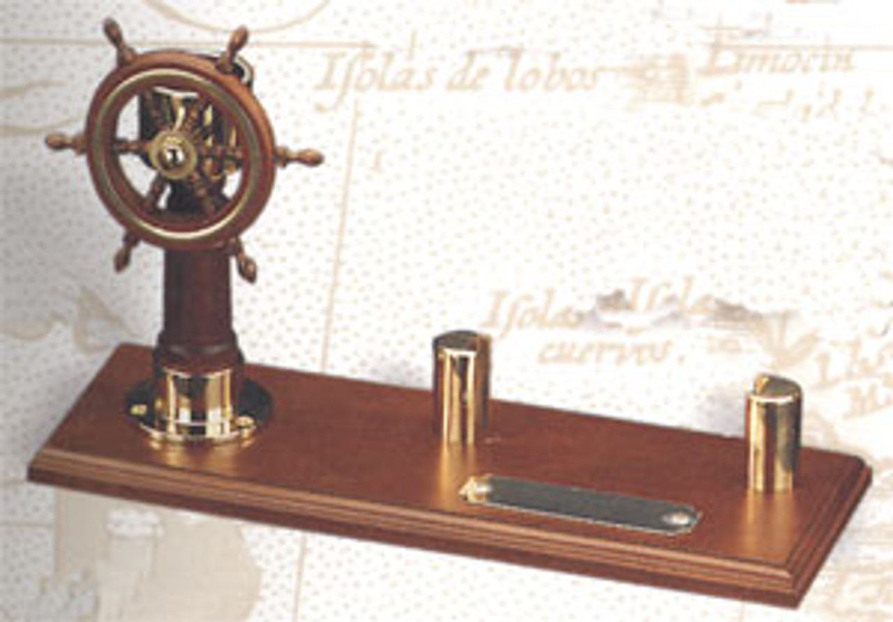 (BW-670) Brass and Wood Ship Wheel and Compass Card Holder