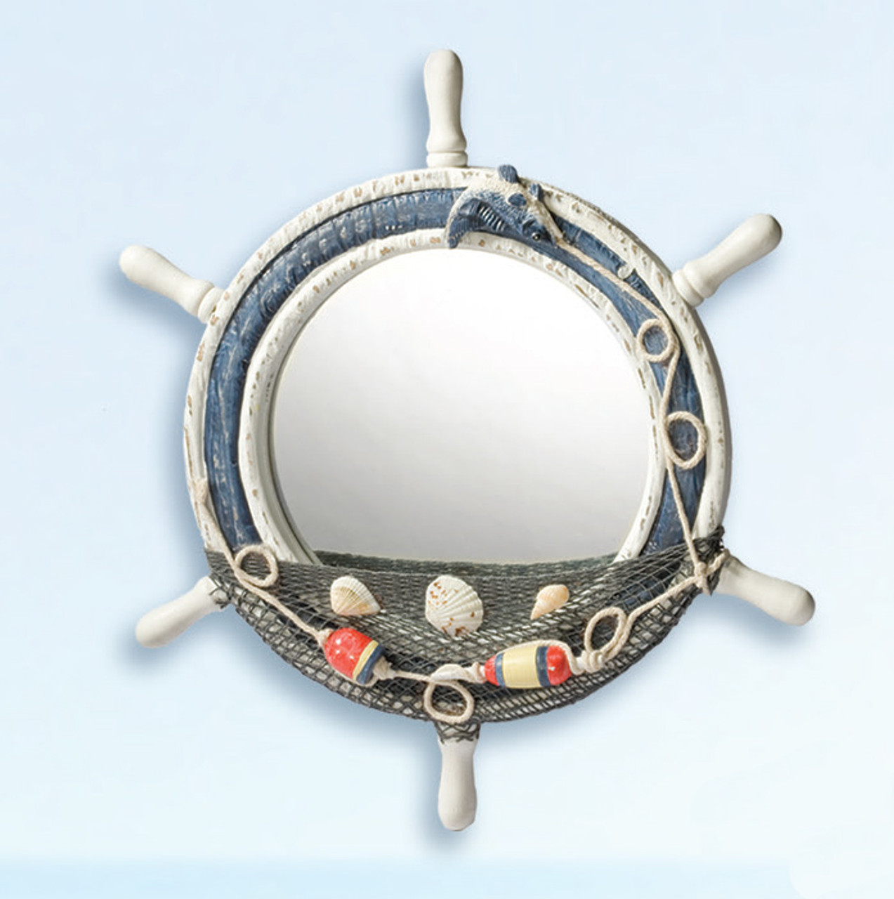 Wooden Ship Wheel Mirror with Shells and Net