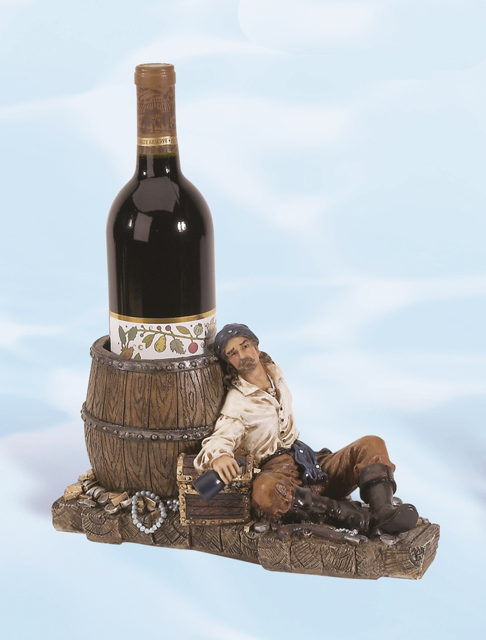 "(BH-50)  6"" Pirate Leaning on Barrel Bottle Holder"
