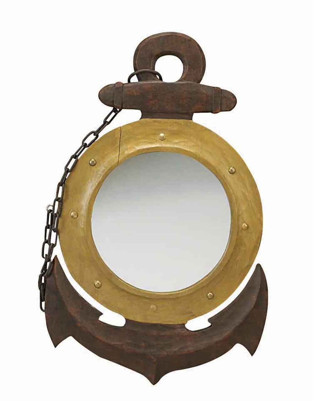 Wooden Anchor Mirror