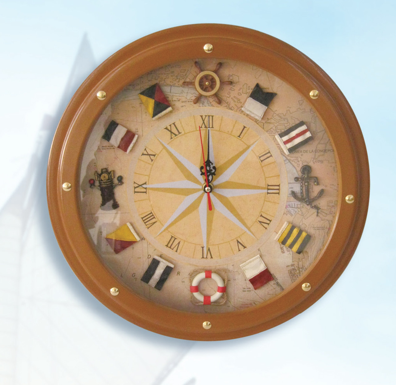 Nautical Compass Rose Clock