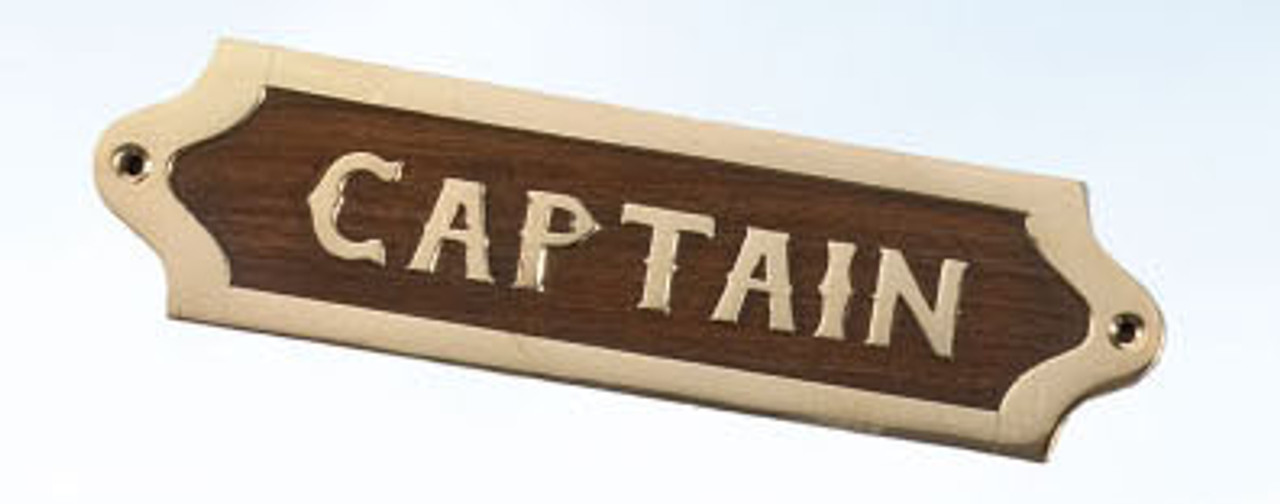 Brass and Wood Nautical Wall Plaque - Captain