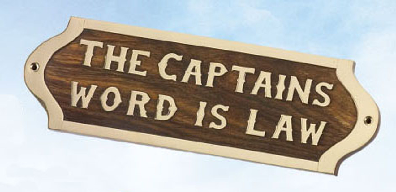 "(BP-718)  Brass and Wood ""The Captain's Word is Law"" Wall Plaque"