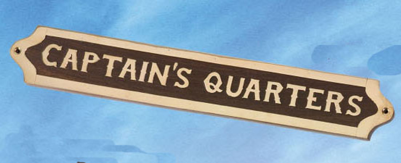 """(BP-719A) Brass and Wood """"Captain's Quarters"""" Wall Plaque"""