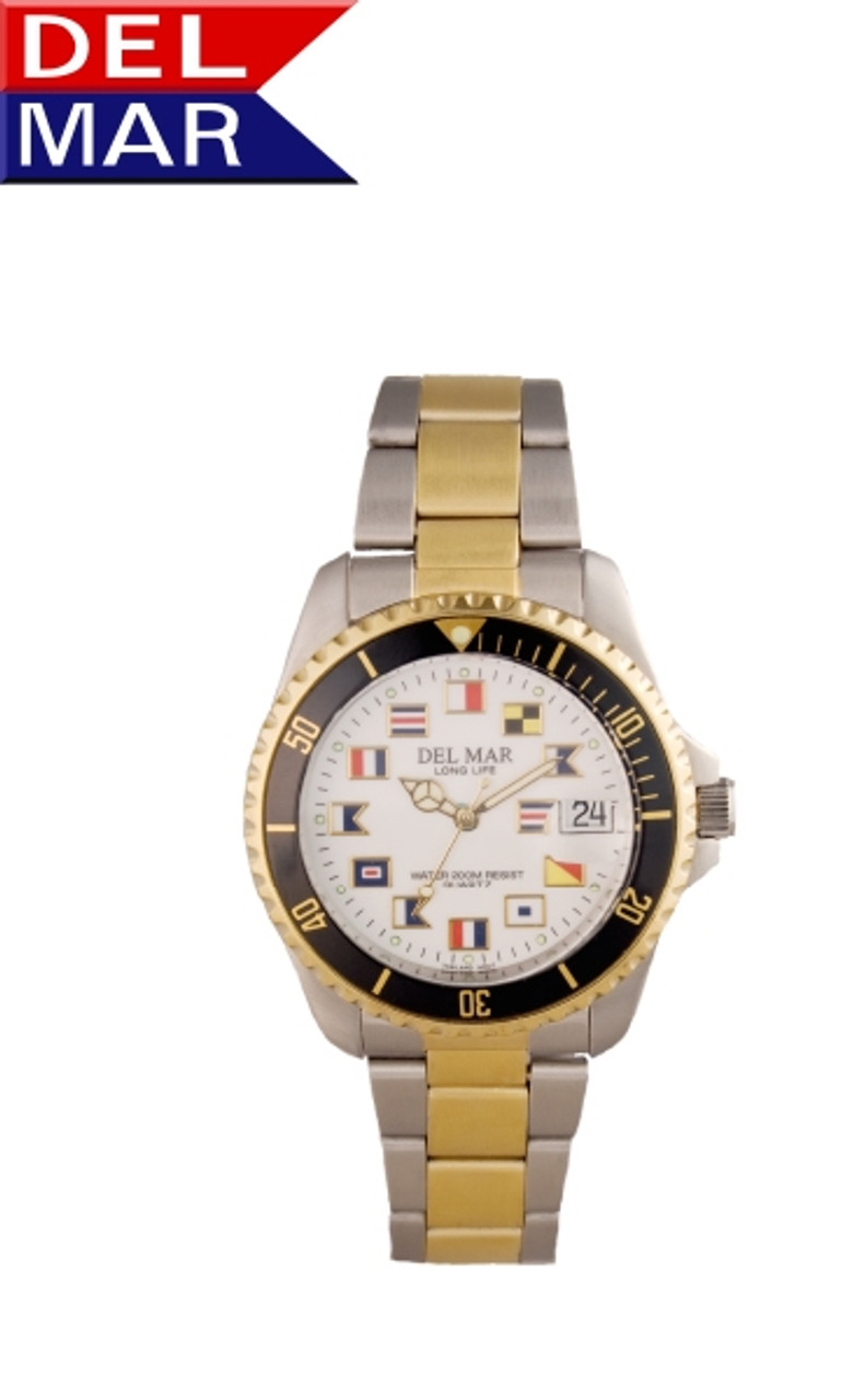 Del Mar Men's 200M Stainless Steel Classic Dive Watch with Nautical Flag Dial - Two Tone