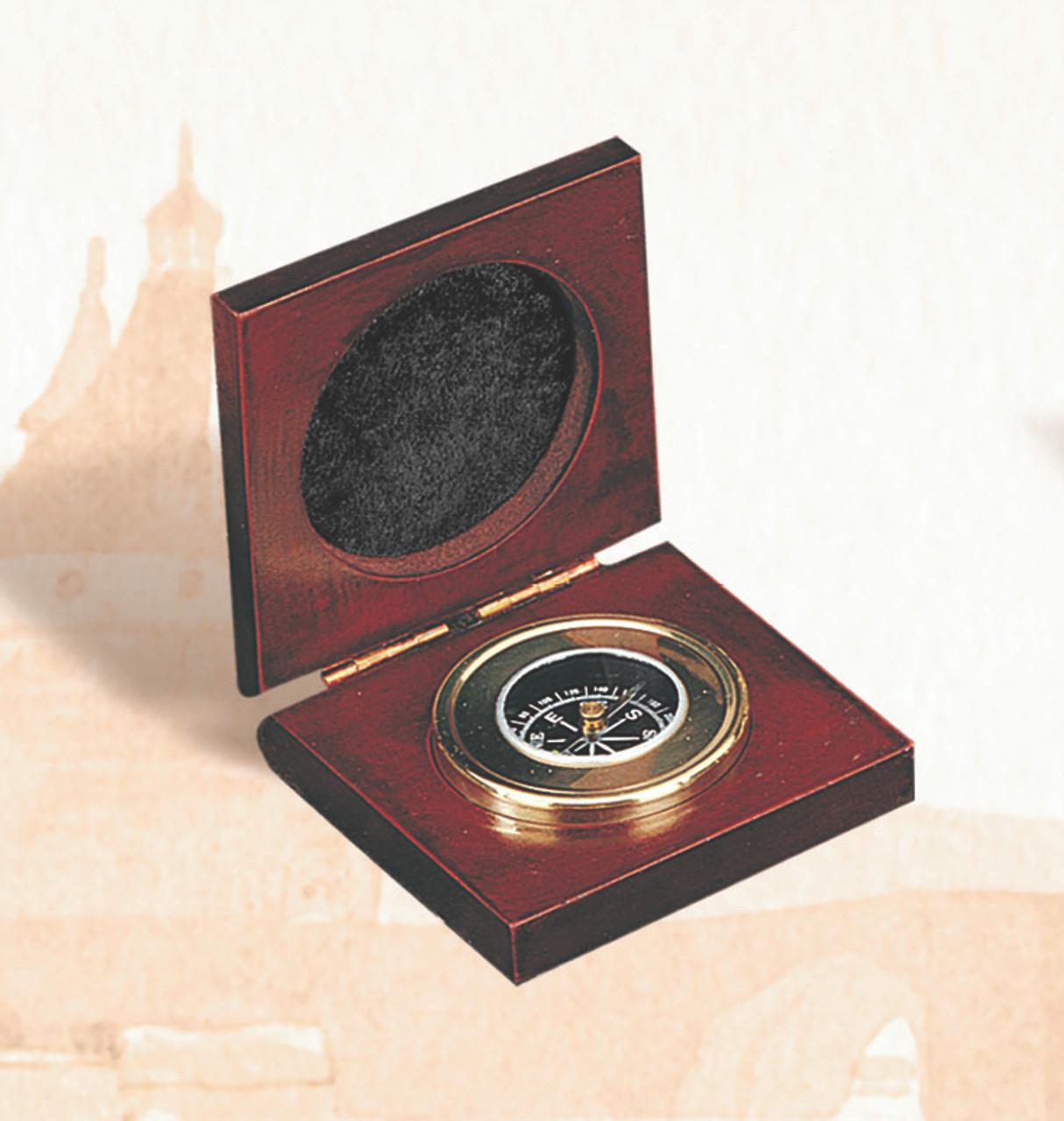"(BW-665) 2.5"" Executive Desk Compass with Mahogany Case"