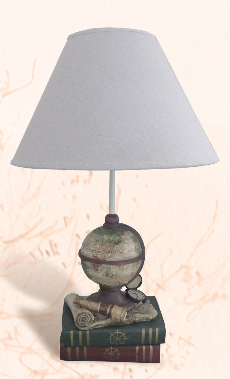 Globe & Book Table Lamp