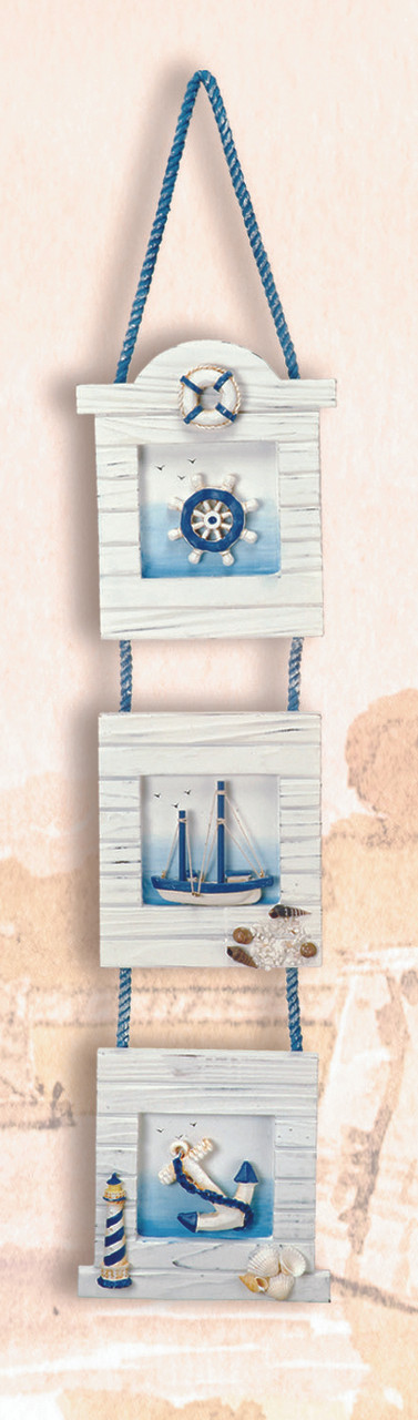 "23"" Three Piece Hanging Nautical Picture Frame"