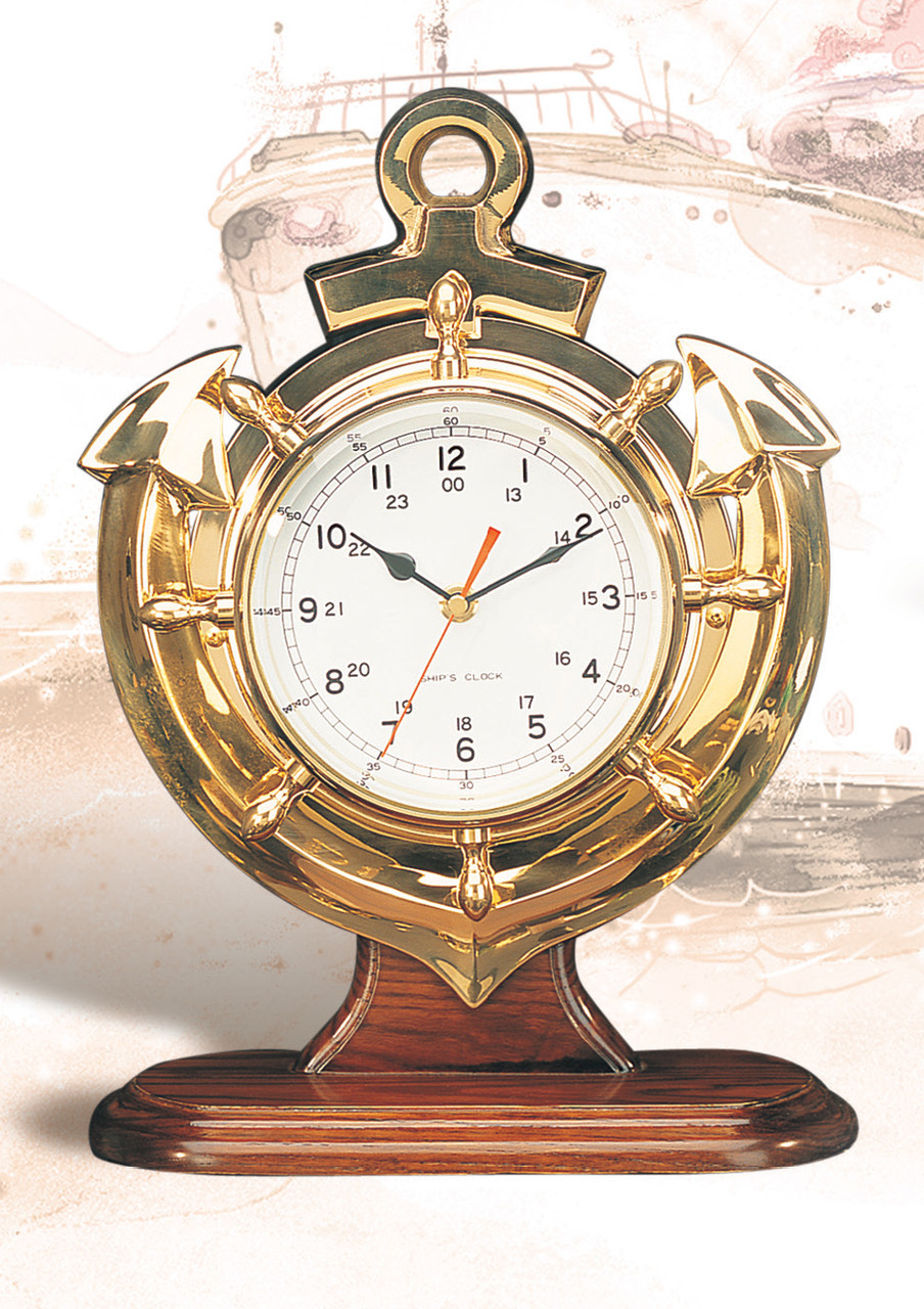 "(TK-261) 13"" Polished Brass Desktop Anchor Clock with Wooden Base"