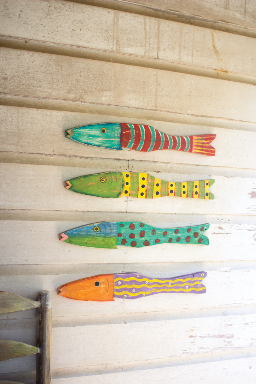 Recycled Wood Antique Fish - Set of 4