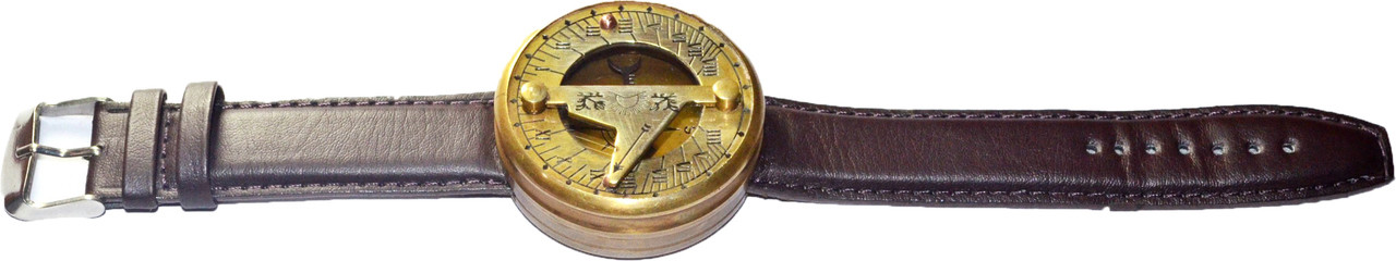(BW-0354) Wrist Sundial with Brown Strap