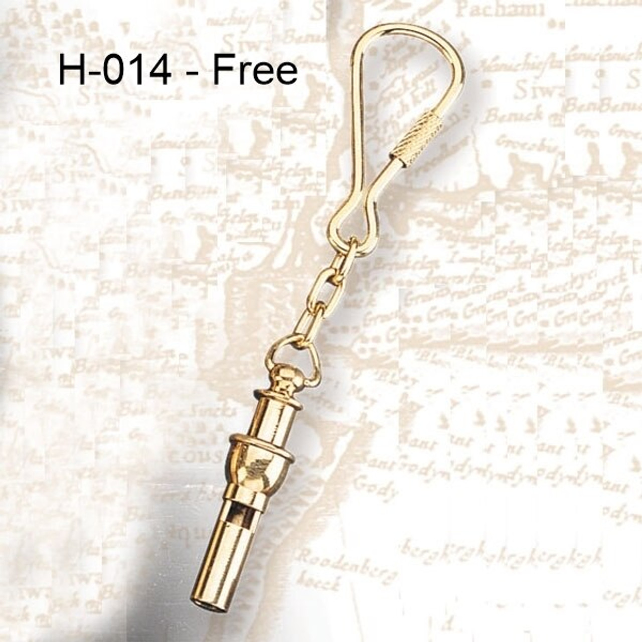 """H - 014 -  Bosun's Whistle Key Chain Option Free with Purchase of (FB-08) 8"""" Brass """"Fire"""" Bell"""