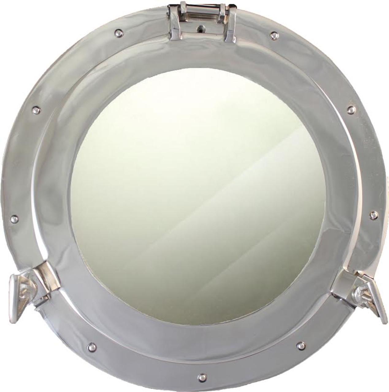 "(BP-701CV 15"") 15"" Aluminum Porthole Mirror with Nickel Finish"