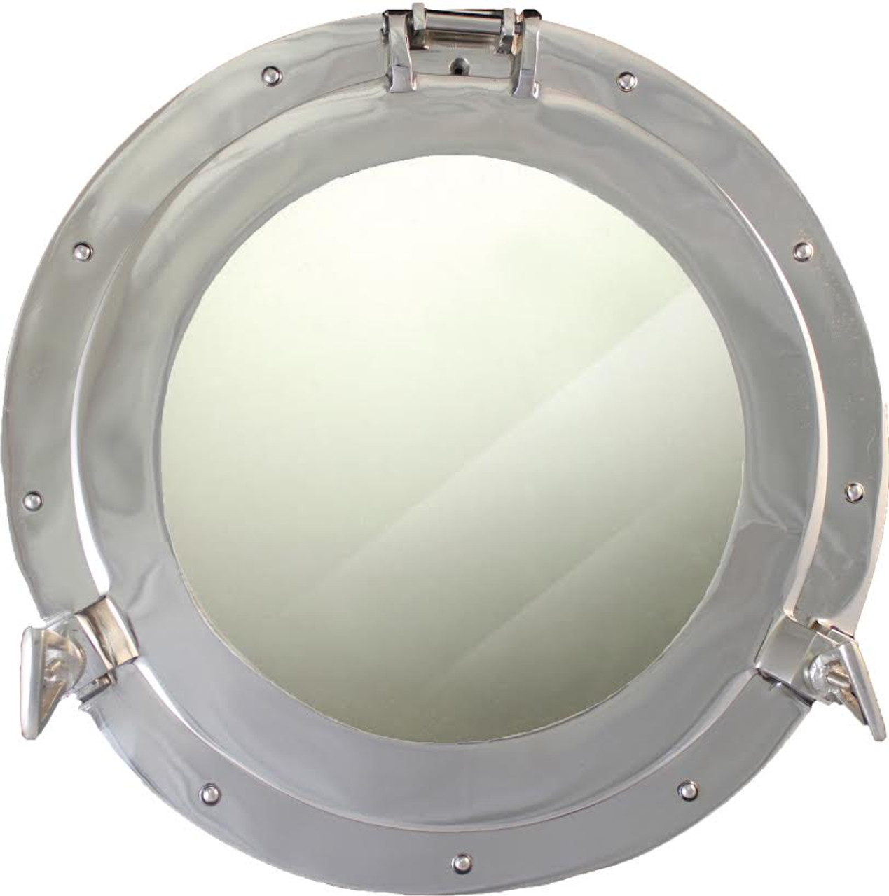 "(BP-701CV 15"") 15"" Aluminum Porthole Mirror with Nickel Finish"