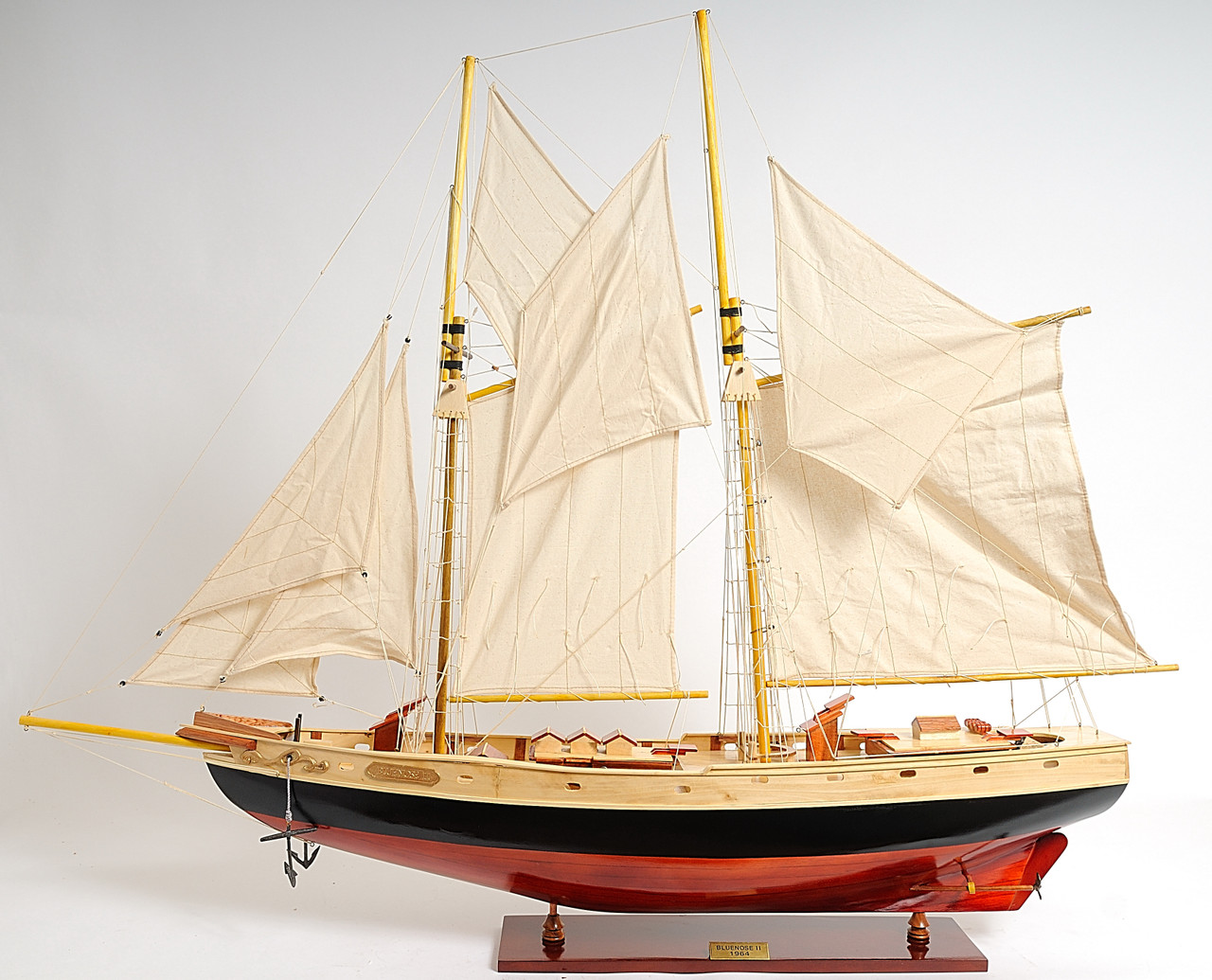 """Bluenose II Painted Model Ship 47""""  with Optional Personalized Plaque"""