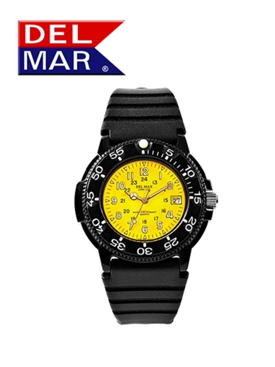 Del Mar Men's 200M Dive Watch with PU Band - Black, Blue, Yellow or Orange Face