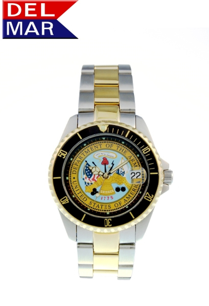 Del Mar Men's 200M Stainless Steel Military Sport Dive Watch - Two Tone - U. S. Army