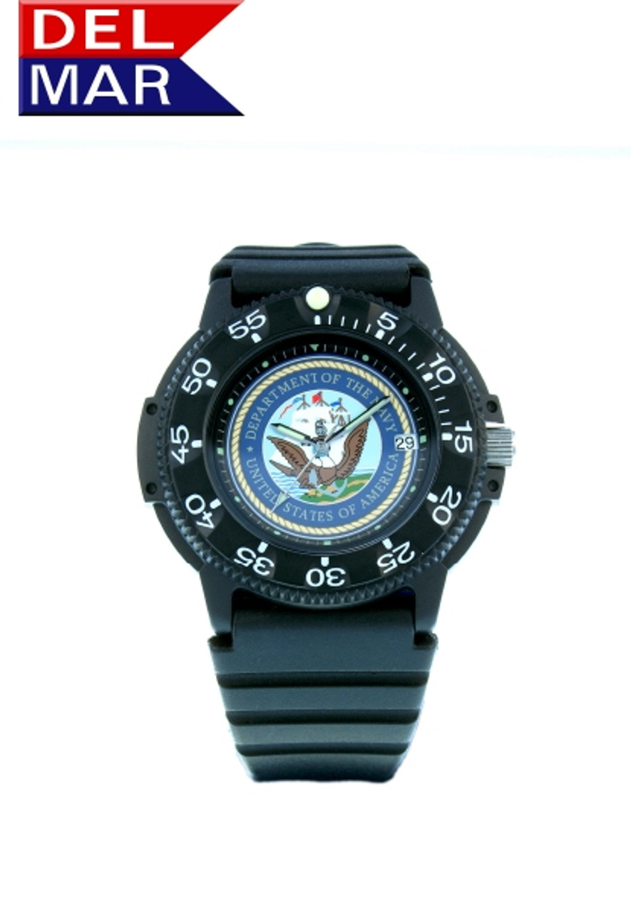 Del Mar Men's 200M Military Sport Dive Watch with Black Case and PU Band - U. S. Navy