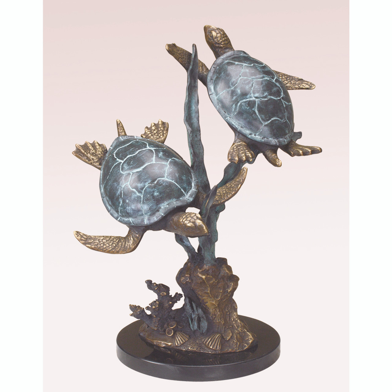 Sea Turtle Duet with Seagrass Sculpture
