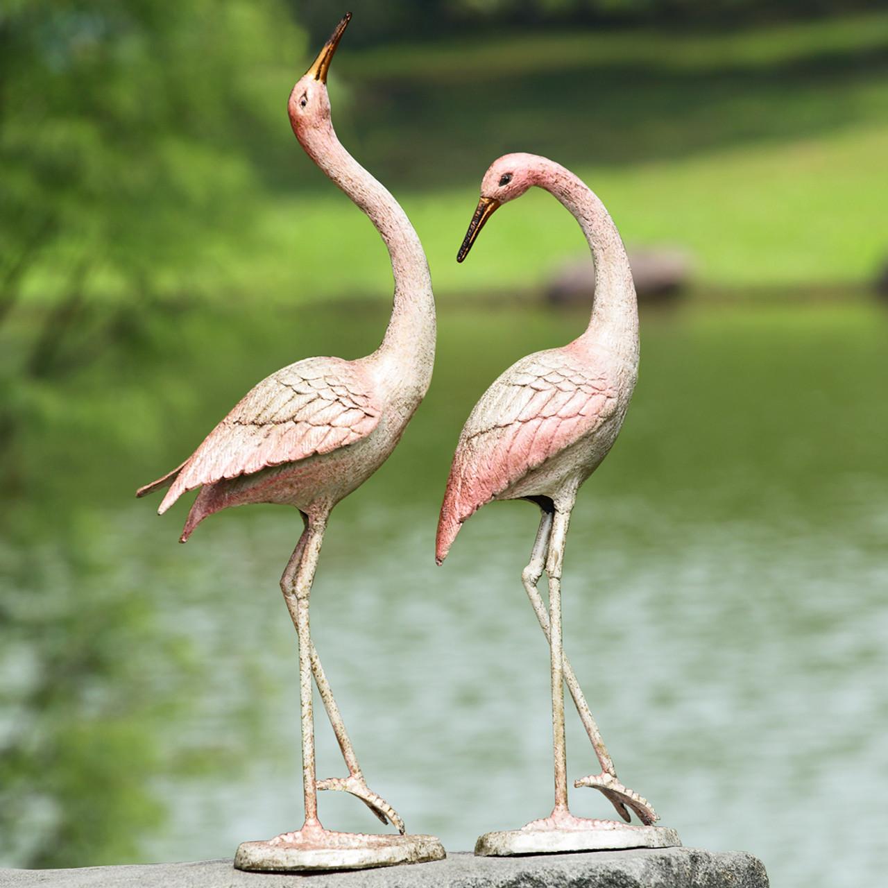 Flamboyant Garden Crane Statues (Pair)