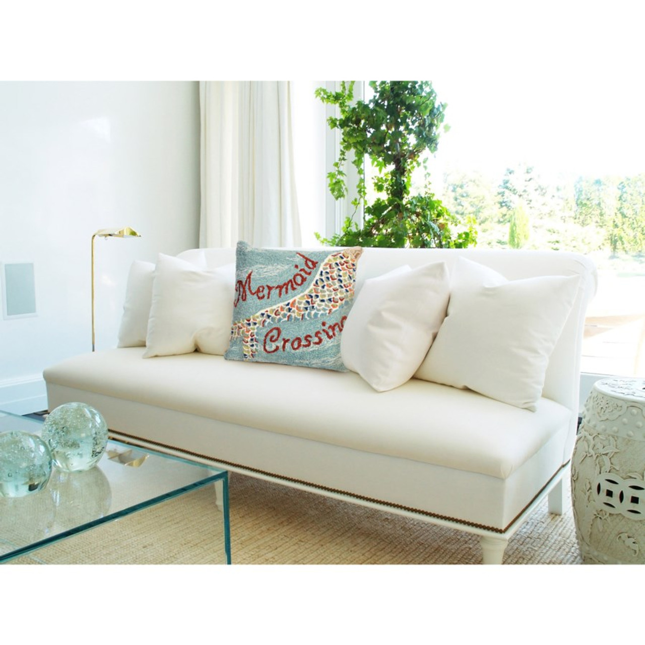 "Frontporch ""Mermaid Crossing"" Indoor/Outdoor Throw Pillow - Lifestyle 2"