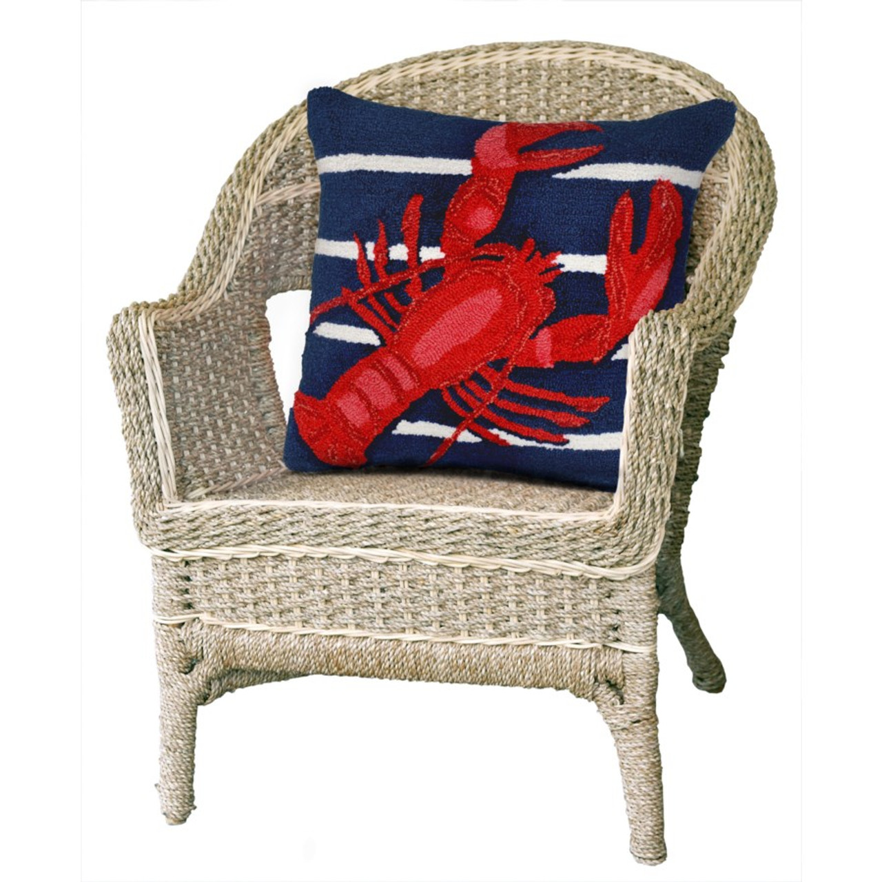 Frontporch Navy Lobster on Stripes Indoor/Outdoor Throw Pillow - Lifestyle 2