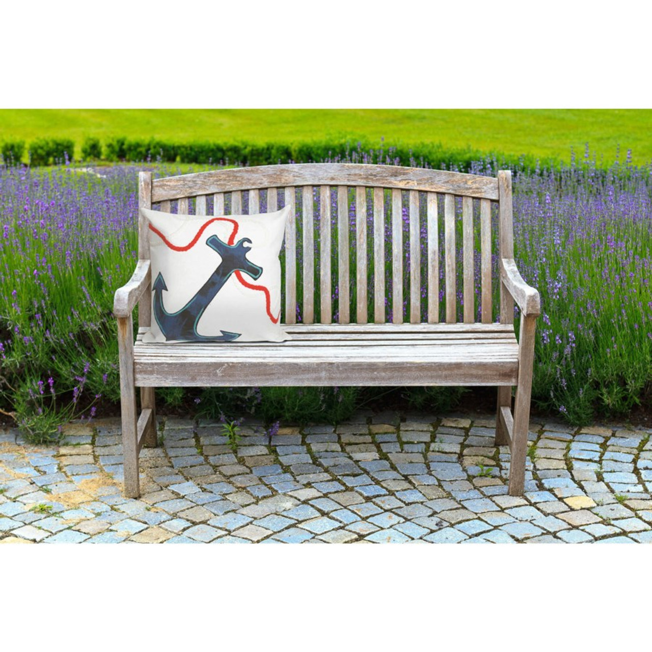 Visions White Anchor Indoor/Outdoor Throw Pillow -  Square Lifestyle