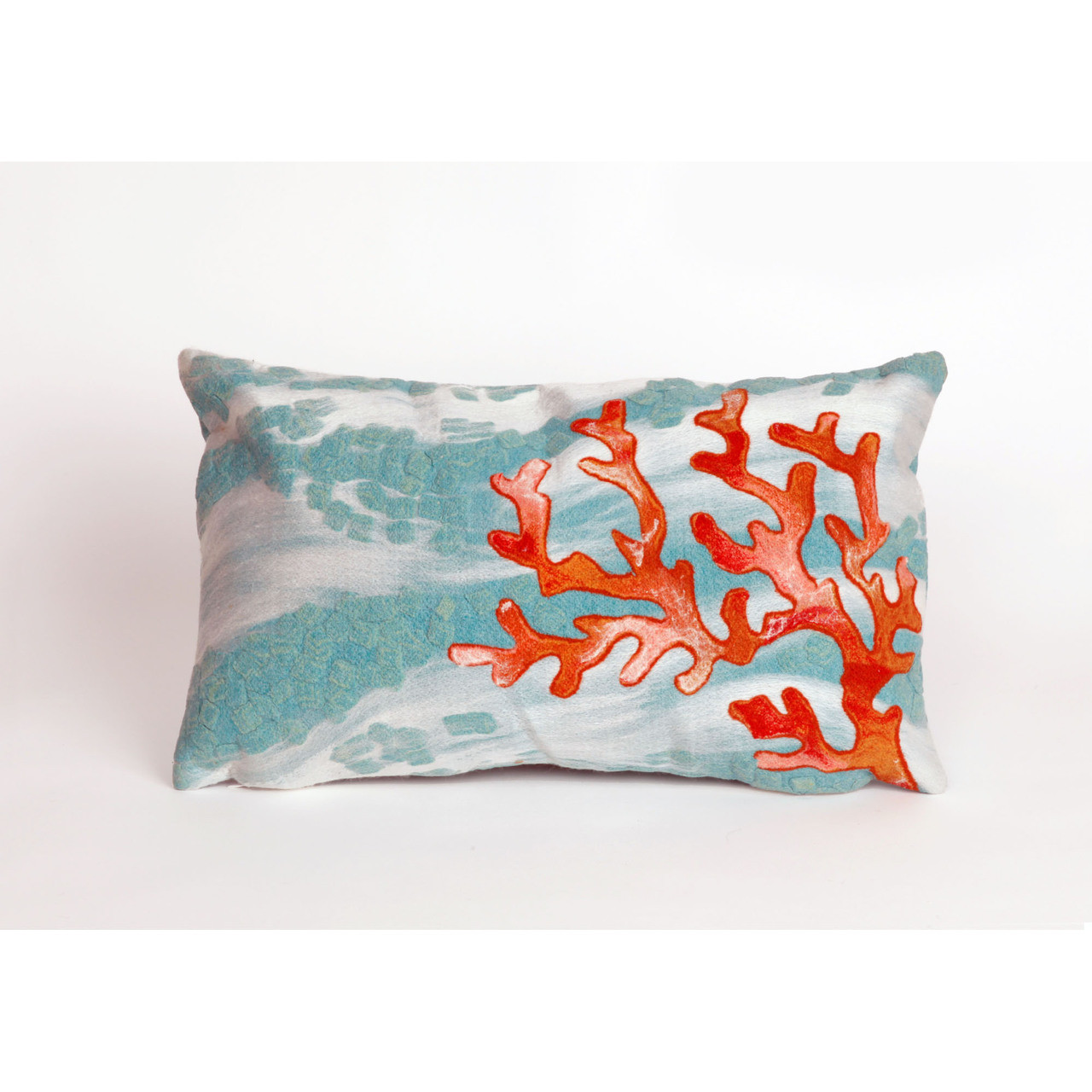 Visions Aqua Coral Wave Indoor/Outdoor Throw Pillow -  Rectangle
