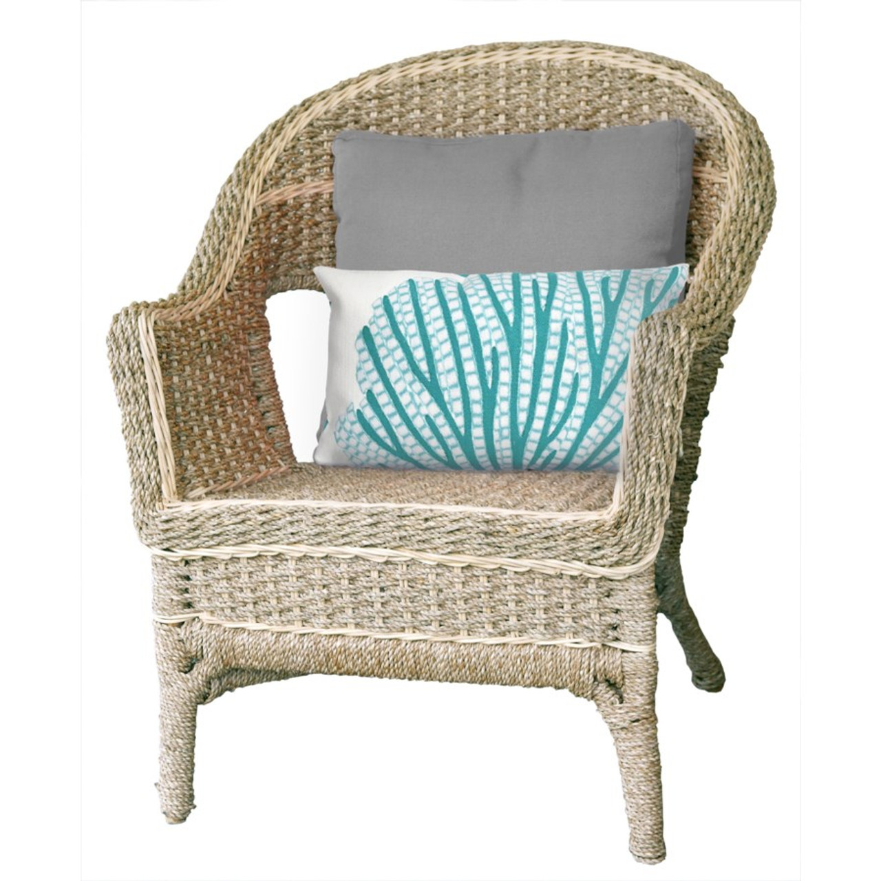 Visions Aqua Coral Fan Indoor/Outdoor Throw Pillow -  Rectangle Lifestyle