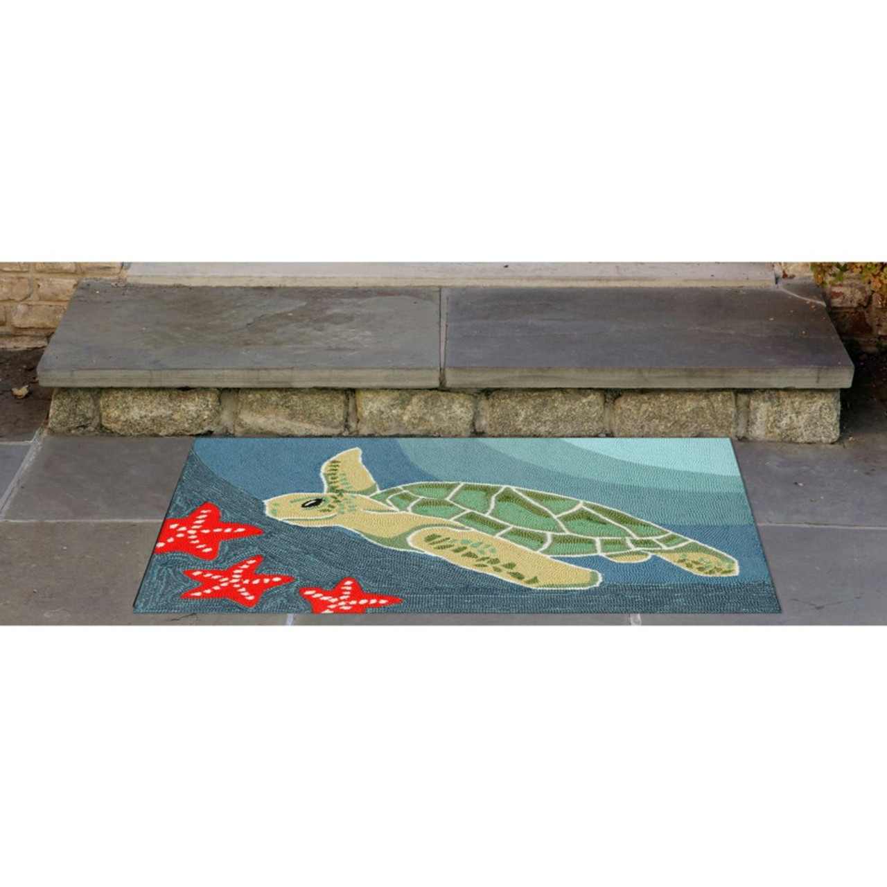 Sea Turtle Indoor/Outdoor Rug  -  Small Rectangle Lifestyle