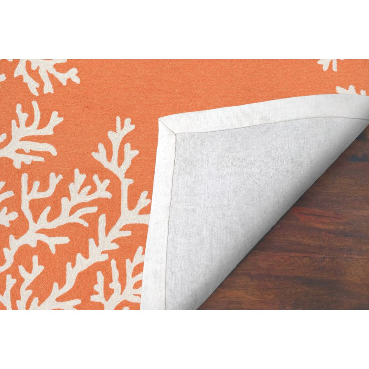 Capri Coral Border Indoor/Outdoor Rug -  Coral - Backing