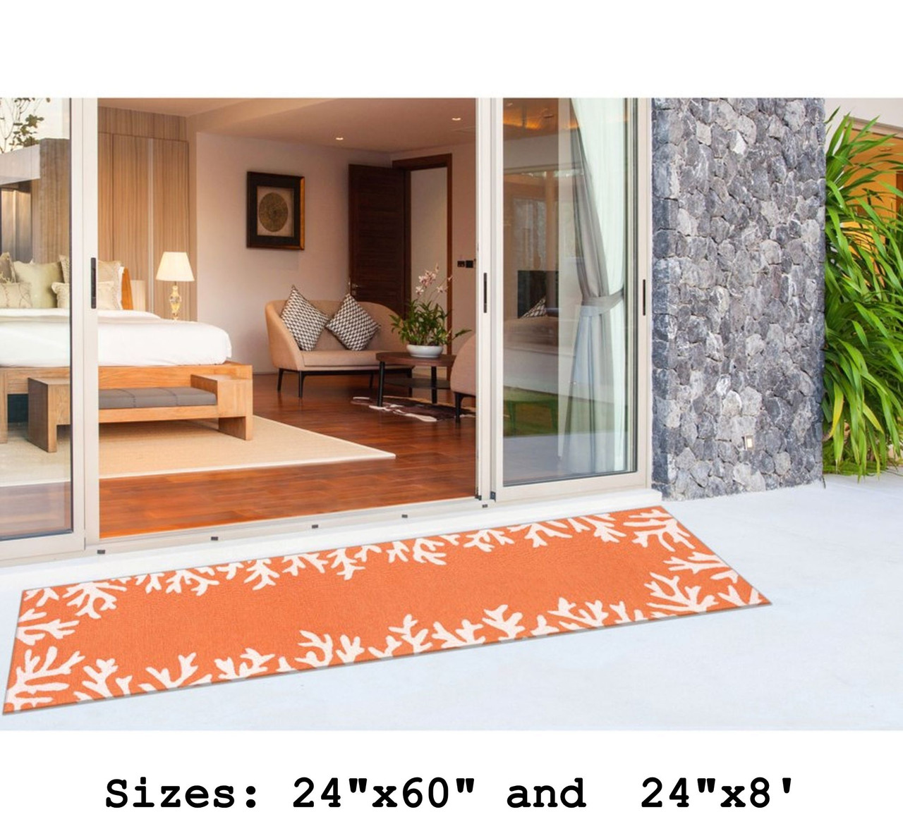 Capri Coral Border Indoor/Outdoor Rug -  Coral - Runner Lifestyle